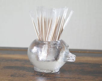 Swedish clear glass toothpick holder  made by PUKEBERG Swedish Mid Century Decor Glass Hedgehog @224