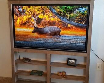 Barn wood TV wall cabinet