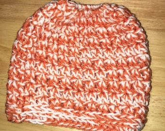 Messy Bun Beanie in burnt orange and soft white
