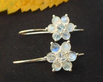 Rainbow Moonstone Earring, Flower Earrings, Sterling Silver Earrings, June birthstone, Bridesmaid Earrings, Wedding Jewelry, Gift for her