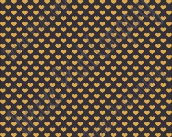 Black with gold small heart craft  vinyl sheet - HTV or Adhesive Vinyl -  Valentine's Day HTV3955