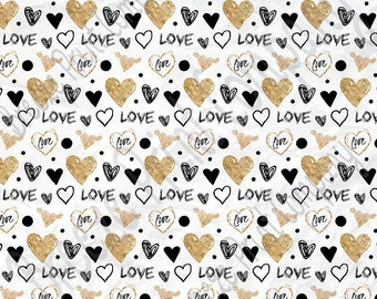 Black with gold heart and love pattern craft  vinyl sheet - HTV or Adhesive Vinyl -  Valentine's Day HTV3957