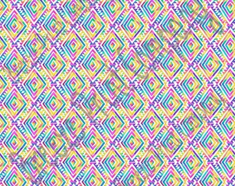 Ikat Aztec watercolor rainbow tribal pattern with white craft vinyl Peruvian pattern HTV2151