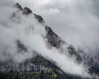 Glacier National Park Photograph, Going to the Sun Road, Wall Decor, Fine Art, Montana, Foggy Mountains, Forest, Canvas, Metal, Landscape
