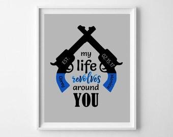 Couples Gift, Wedding Gift, Gun Print, Gun Wall Art, Gun Gift, Gun Art, Gun Wall Decor, Anniversary Gift