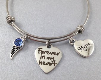 Mom Memorial Bracelet, Forever in my Heart, Loss of Mom, Sympathy Gift, Memorial Jewelry, Remembrance Bracelet