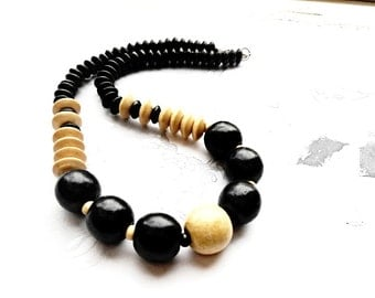 Wooden Black White Necklace Beaded Statement, Chunky Trending Jewellery Wood Geometric Eco Friendly Vintage Retro Fashion Jewelry Bohemian