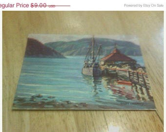 ANDRE Morerncy Art Lithograph Postcard L'anse Saint Jean Saquenay Canadian Postcard c1940