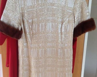 Vintage 50s Brocade dress with mink trim