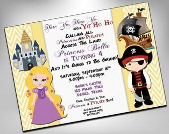 Princess and Pirate Birthday Party, Twin Birthday Invite, Double Birthday, Pirate, Party, Princess Invitation, Birthday Invites