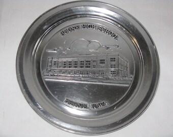 Vintage Central Christian Church Boone Iowa commemorative metal plate pewter? Wilton Columbia Pennsylvania