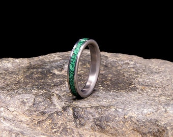 Malachite Inlay Slimline Titanium Wedding Band or Ring