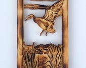 Duck Wood Carving Sign, D...