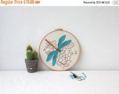 ON SALE Dragonfly hand embroidery art, embroidery hoop art, decorative wall hanging, scientific drawing, entomology gift, handmade in the UK
