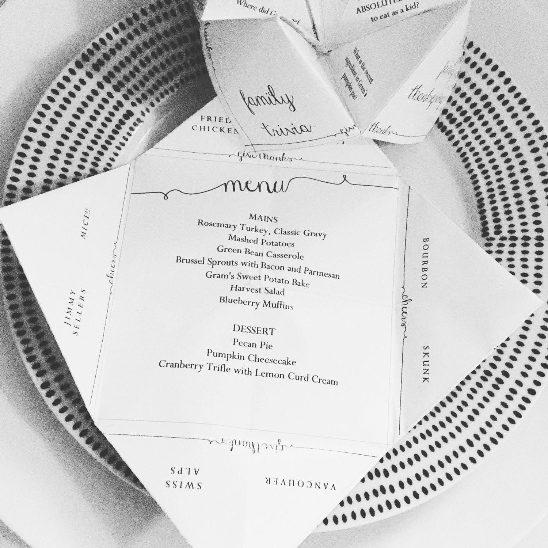 DIY Customizable Printable Thanksgiving Menu Cootie
