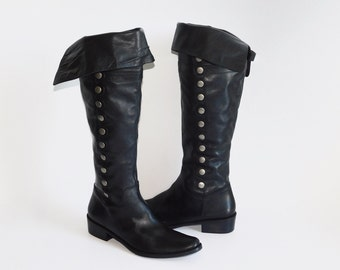 US Size Women's 10~ Pirate Studded Amazing Quality Tall Over the Knee Boots- made in Brazil- Us Men's 8.5, Us Women's 10
