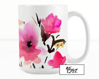 Pink Flowers Coffee MUG, 11oz and 15oz, original watercolour print on ceramic mug, coffee mug, tea mug, birthday gift idea, Mothers Day Gift