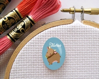 Magnetic Zodiac (Taurus) Needle Minder for Cross Stitch, Embroidery, & Needlecrafts (18mmx25mm with Strong Magnet)