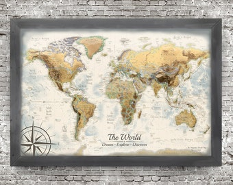 World Map Push Pin, Illustrated World Map with Terrain Modeling, World Pin Map, Old World Map with Modern Geography, Professional Geographer