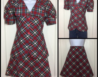 1970's 2 piece Mini A-line Skirt set plaid corduroy babydoll top, clover buttons, puffy short sleeves suit 27 inch waist red yellow black