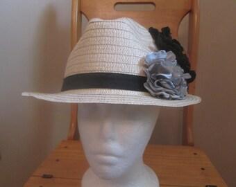STRAW FEDORA, straw hat,easterhat,floral fedora,straw floral hat, ladies hat, summer hat, spring hat, straw dress hat, church hat, flower