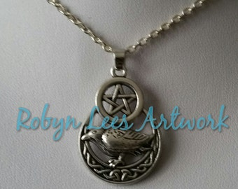 Pentagram, Raven Crow Bird & Crescent Celtic Moon Necklace on Silver or Black Chain or Black Cord. Gothic, Pagan, Wiccan, Nature, Costume