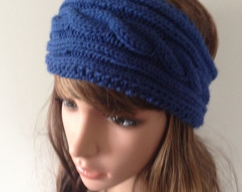 Knit headband - knit ear warmer - dark blue cable knitted head wrap  - keep the wind out of your ears while outside - funky twist pattern