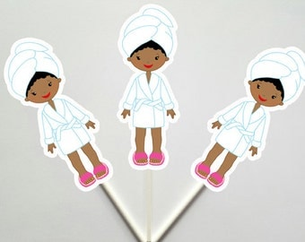 Spa Birthday Cupcake Toppers - Spa Party Cupcake Toppers - Spa Cupcake Toppers (6517258A)