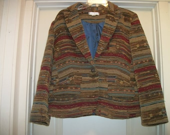 Retro 80s 90s does ANCIENT LOOK TAPESTRY Jacket, Lg