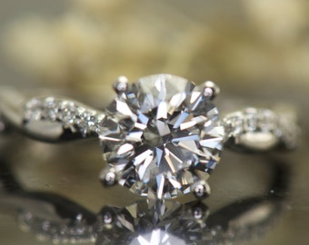 Twisted Diamond Band Engagement Ring, 7.5mm/1.50ct Forever One Moissanite, 1/2 Eternity Diamond Accent Twisted Band, White Gold, Desiree D