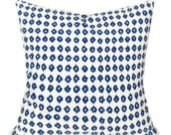 Blue Ikat Dot Decorative Pillow Cover - Throw Pillow - Both Sides - 10x20, 12x16, 12x20, 14x18, 14x24, 16x16, 18x18, 20x20, 22x22, 24x24