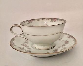 "VINTAGE NORITAKE ""WINSOR"" Flower & Gold Trim Tea Cup, Saucer and Desert Plate"