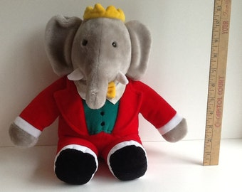 1988 Gund BABAR the ELEPHANT KING Plush