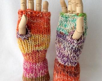 Rainbow Fall Fingerless Gloves