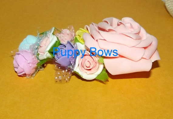 "Puppy Bows ~Big Girl 8 flower bow attached to 3"" french barrette ~Usa seller"
