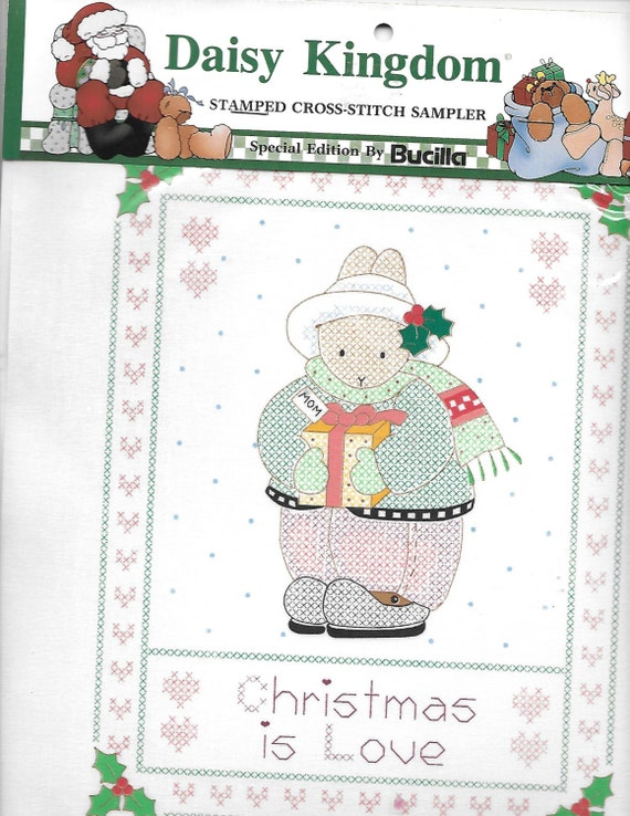 Puppy Bows ~ craft Buscilla Daisy Kingdom stamped cross stitch sampler 63444 Christmas love bunny rabbit
