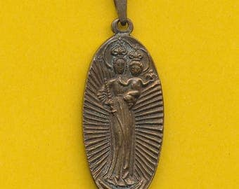 Vintage bronze religious charm medal pendant Our Lady of Einsielden - Arms ( ref 0821)