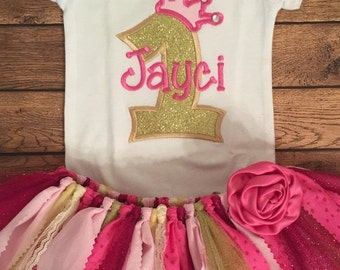 Pink and Gold Birthday Princess Scrap Fabric Tutu Outfit