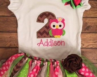 Pink, lime, and brown girly owl birthday tutu outfit
