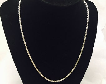 "Vintage 18"" Sterling Silver Twisted Chain Necklace - 9.1 Grams"