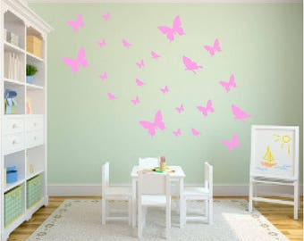 Butterfly Lot 20 50 bedroom playroom wall decal home decor girl fun cute