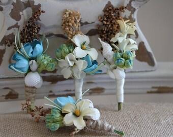 Ocean Blue Seashell Beach Destination Wedding Boutonnieres Set of 5