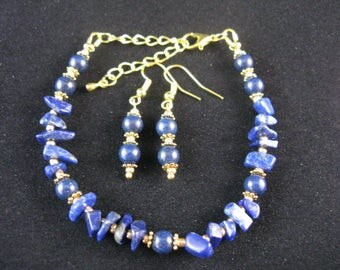Handmade Bracelet and Earrings - Lapis Lazuli