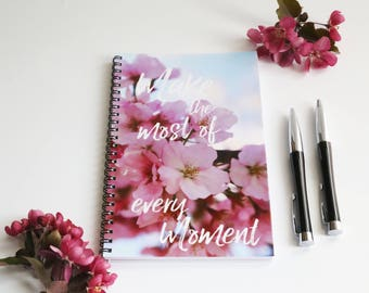 Cherry Blossom Notebook, Flower Journal, Blank Paper Notebook, Wire bound journal, Quote Book, Gifts for her, Floral gift, Pink Notebook