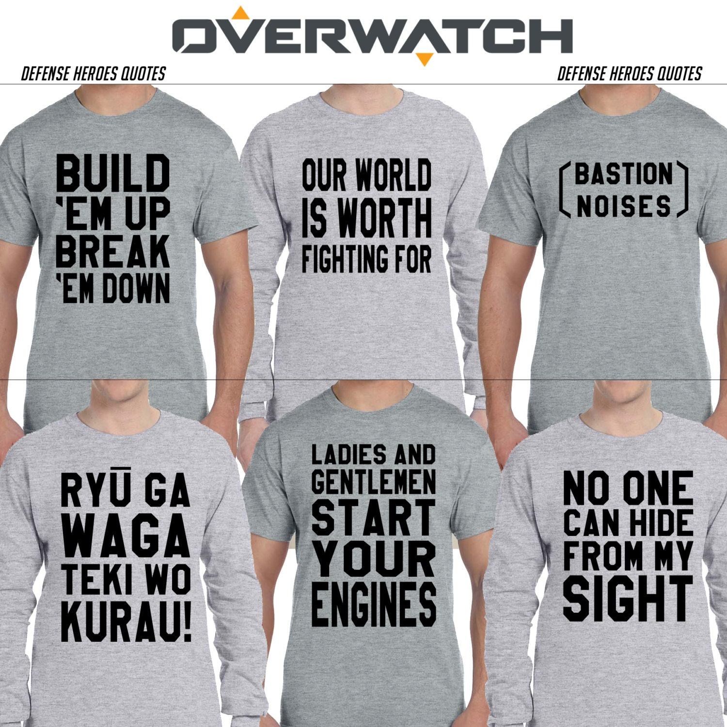 Design your own t shirt american apparel - Overwatch Defense Heroes Quotes Bastion Widowmaker Torbjorn Mei Hanzo Junkrat Shirt Long Sleeve American Apparel Gift For Gamer Pc Blizzard