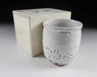 Hagi-ware Oni-Hagi Yunomi Tea Cup, Koedo