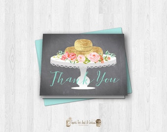 Biscuits and Gravy Thank You Card Baby Shower Printable Note Cards Southern Brunch Digital File Floral Chalkboard Rustic