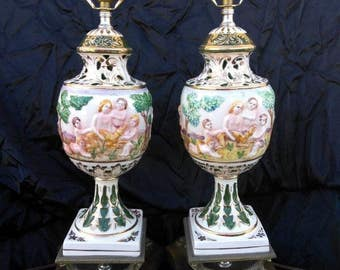 Pair of Two 2 Vintage Capodimonte Pottery Lamps Cherubs Lights Putti Children