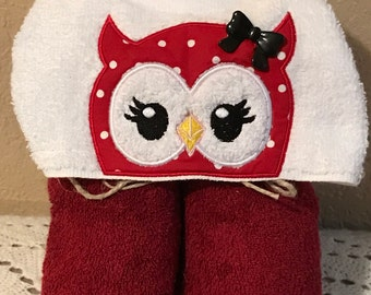 Cute owl Hooded towel