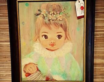 Vintage 1960's Art Print Gigi by Sherle Big Eyed Girl Framed With Accordian